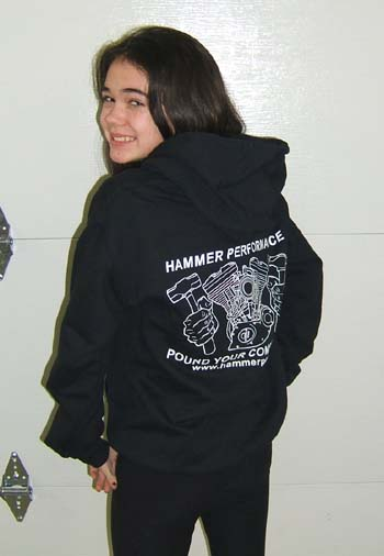Hammer Performance Black and White Hoodie Back