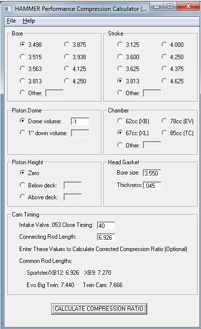 Hammer Performance Compression Calculator Screen Shot