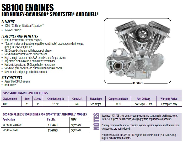 S&S SB 100 engine - The Sportster and Buell Motorcycle Forum