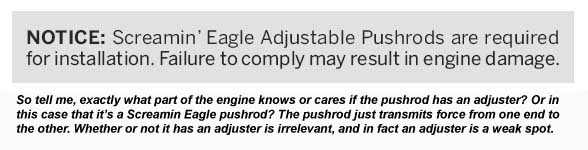 Warning that SE adjustable pushrods are required