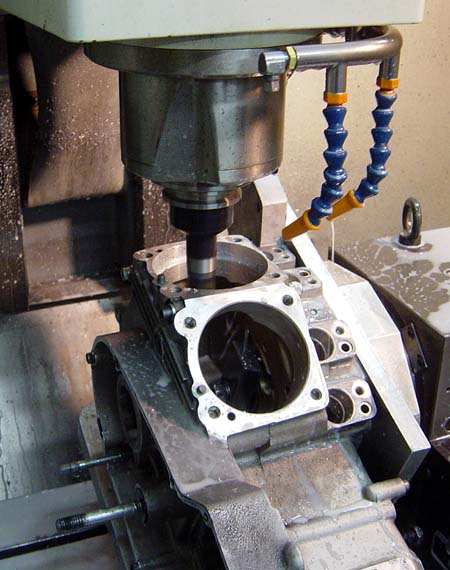 CNC Boring the Cases on a Harley Davidson Sportster Buell for a Big Bore Kit